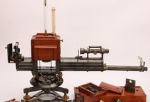 The Kew Pattern Magnetometer Theodolite / This board is just about one antique instrument. Its such a complicated and unusual item that one picture alone wasn't enough. This instrument is a type of theodolite used for geomagnetic survey work
