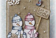 Xmas lawn Fawn snowmen