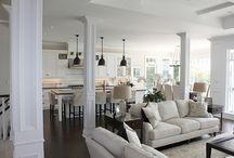 living room, dining room, kitchen flow