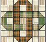 Interlocked / Interlocked squares and other shapes in patchwork.