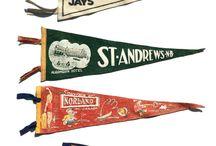 pennants flags vintage
