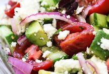 yummy salads and food and dressing