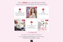 """My Summer Fashion / Create a Pinterest board called """"My Summer Fashion"""", pin your favourite summer pieces and share your board onto River Square's Facebook page to stand a chance to win a R5000 Gift Voucher!"""