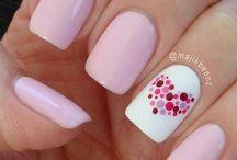 Pink heart nails