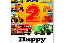 2nd Birthday Truck and Construction Party Supplies / Kids love trucks? But you will love this range of customisable  truck and construction themed birthday party supplies - decorations, invites, truck party favors, truck mugs, truck cards, truck pillows, truck flag bunting and truck t shirts for kids from Paul Stickland's Truck Birthday Party on Zazzle. Fire trucks, diggers, tractors, rollers, cement and concrete mixers! Perfect for Kid's Construction Parties!