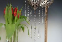 "Beautiful Vintage Chandelier Heart Lanterns / Beautiful Large Filigree Heart Lantern, holds Votive candle, embellished with vintage chandelier glass and fine beads, (33"" Length, 8""x8""x3"" Heart). Hand made by artisans from Whidbey Island, Pacific Northwest.    http://2dirtybirds.indiemade.com"