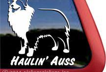 Haulin' Auss | Australian Shepherd Stuff to Buy / Australian Shepherd Decals & T-shirts and more stuff to buy.