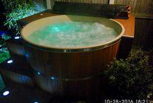 Cedar Hot Tub in England / A cedar hot tub from Canadian Hot Tubs installed by a customer in Kent, UK.