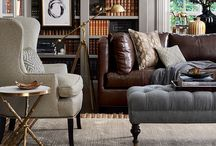 Mixed textile furniture / Mixing leather, fabric, and colors for family room