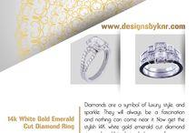 14k White Gold Emerald Cut Diamond Ring @www.designsbyknr.com