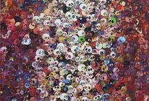 """Takashi Murakami / The paintings, sculptures, and balloons of Takashi Murakami are colorful and attractive, and accessible in their reference to lovable cartoon characters. Murakami uses his deep understanding of Western art to integrate his work into its structure; working from the inside to portray """"Japanese-ness"""" as a tool to bring about revolution in the world of art."""