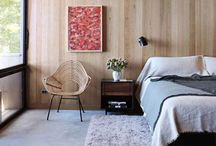 Design | Master Bedroom / Wood paneled wall. Polished concrete floor. Floating side tables. Hung lighting. The bed. The wood-burning stove. Here are the visuals on how to pull it all together. / by Elizabeth