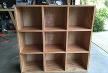 shadowbox / cabinets / display case / shelf with compartments / półki z przegródkami