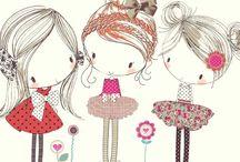 girls & cute cartoons