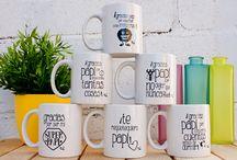 Tazas / Tazas de cerámica con frases positivas.