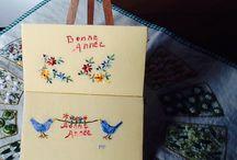 Carte de voeux < peinture à l'aiguille > par les créations de Pénélope !