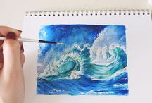 painting watercolour waves