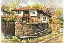 Schilderijen van gebouwen/huizen