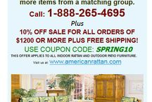 SPRING SALE 2014! / 10to 15% off our huge selection of indoor and outdoor Rattan and Wicker furniture.