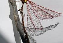 Damsel in distress / Damselfly. Knitted recycled electrical plastic coated and copper wire. size h30cms x l 40cms x w 10cms