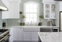 home sweet home // kitchens / Timeless! Lots of white, touches of black, dark floors. / by Samara