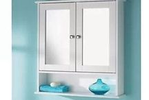 Shelf Mirror Bathroom Furniture White Cabinet Unit Wooden Wall Decor Framed Home