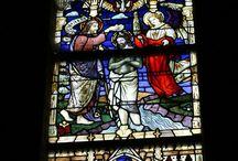Kerkramen, glas in lood / Glasinlood in oa kerken en andere gebouwen, traditionele glasinlood.