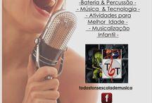 Quer aprender Música? / Aulas de música nas cinco principais áreas, Canto, Teclas, Cordas, Sopros e Percussão.