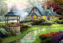 Art, paintings, graphics , romantica a mixed theme. / Művészet.. Romantika. Fantázia..