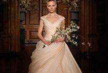 pink wedding dress/grey bridesmaids