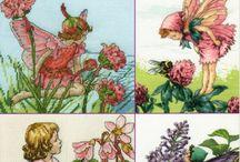 Cross Stitching Flower Fairies