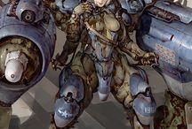 Concept Art II / Sci-Fi, Futuristic,  Android, Humanoid, Cyborg, Tech Armor, Mech Suit, Space Suit, Helmet, Head Part