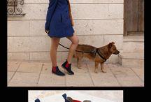 Un paseo por la ciudad / Ana ha elegido estas botas tan chulas para un paseo por la ciudad con su adorable perro Pepe.  ★ Ana lleva Bota Safari en piel de serraje azul marino con elástico y costuras en rojo. ¿Verdad que está divina? Y Pepe es encantador!