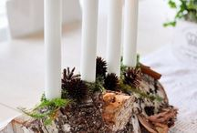 bûche de Noël avec bougies