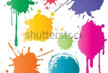 Color Spots and Brushes / Set of vector color spots and brushes