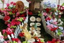 """fairy garden / Montaj din flori """"suculente"""" cu figurine ceramice și flori uscate"""