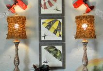 Boys room decor, airplanes and army