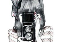 Camera draw girl photography / Drawing.ferauf
