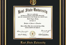 Kent State University Diploma Frames & Graduation Gifts! / Official Kent Diploma frames. Exquisitely crafted to exacting specifications for the KSU diploma. Custom framed using hardwood mouldings and all archival materials, including UV glass to prevent fading from sunlight AND indoor incandescent lighting! Each frame exceeds Library of Congress standards for document preservation and includes a 100% lifetime guarantee, ensuring that a hard-earned achievement will be honored and protected for generations. Makes a thoughtful and unique graduation gift!