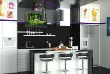 Интерьер кухни в черном цвете / Дизайн кухни выполнен в черных тонах по желанию заказчика. Стиль интерьера хай-тек. Для добавления красок в интерьер кухни добавлены картины в ярких цветах, это придает кухни интересный и необычный вид.