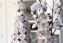 Burlap and Drop Cloth and Ticking…Trees Use rolled rosette method for trees NO SEW just roll and glue