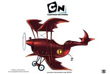 Cars and airplane cartoons