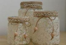 Tarros decorados con puntilla