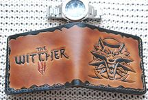 The witcher inspired handtooled School of Wolf Wallet,for him,veg tan leather,brown &black