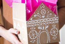 Новогодние домики из картона(упаковка для подарка)