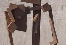 """Joel Perlman / Like Anthony Caro, Robert Murray, and Beverly Pepper, Perlman espoused the purely visual aesthetics championed by the critic Clement Greenberg. Using industrial-grade steel plate, he made geometric abstract sculptures, usually for outdoor display. """"Square Tilt"""" is located in the PCL Plaza at the University of Texas at Austin. GPS: 30.283087,-97.73797"""