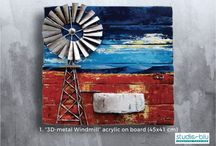 Wooden Board paintings with 3D elements / Acrylic Paintings on board and pallet wood.Making 3D elements in the scene like windmill, fence etc.