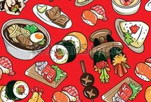 Food drawings and illustrations