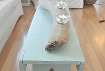Houtdecoratie + lamp