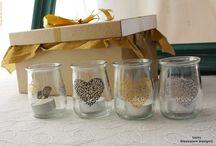 Recicladitos / Piezas de vidrio reutilizadas. Pintadas a mano. Diseños exclusivos.